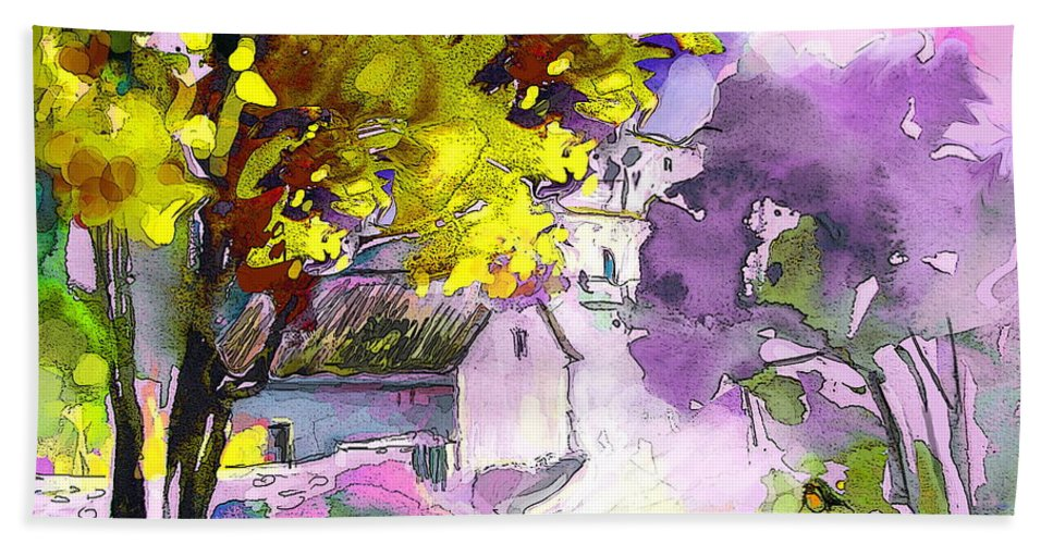 Water Colour Painting Hand Towel featuring the painting Fantaquarelle 06 by Miki De Goodaboom