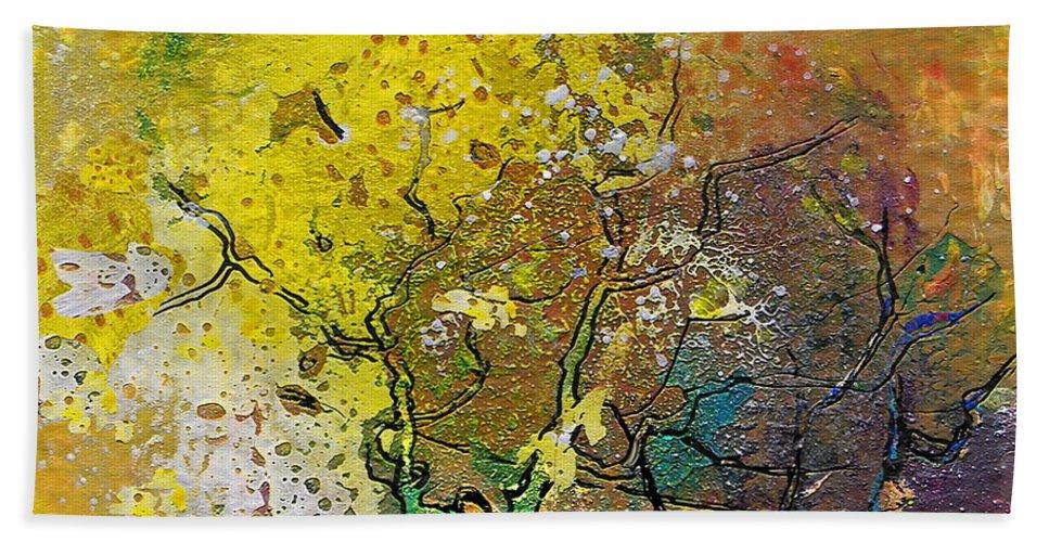 Miki Bath Sheet featuring the painting Fantaspray 13 1 by Miki De Goodaboom