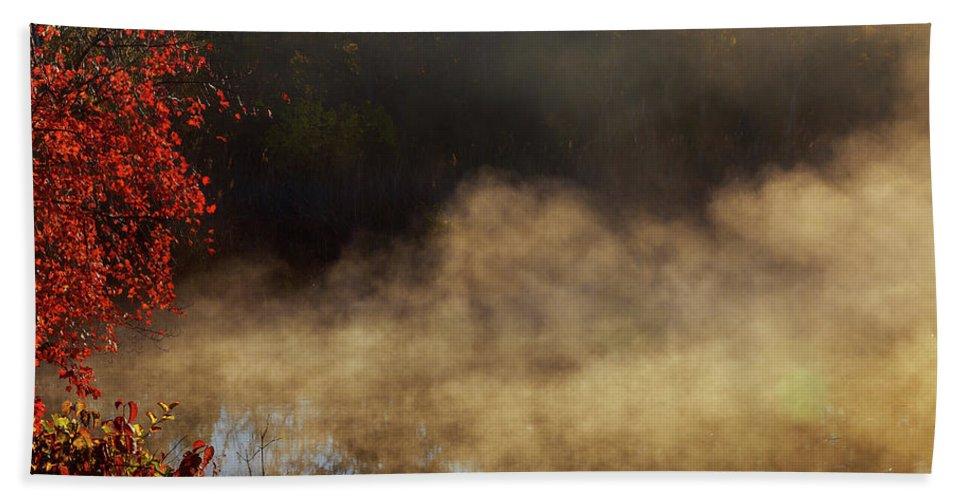 Sun Bath Sheet featuring the photograph Fantastic Foggy River With Fresh Green Grass In The Sunlight. by Valentyn Semenov