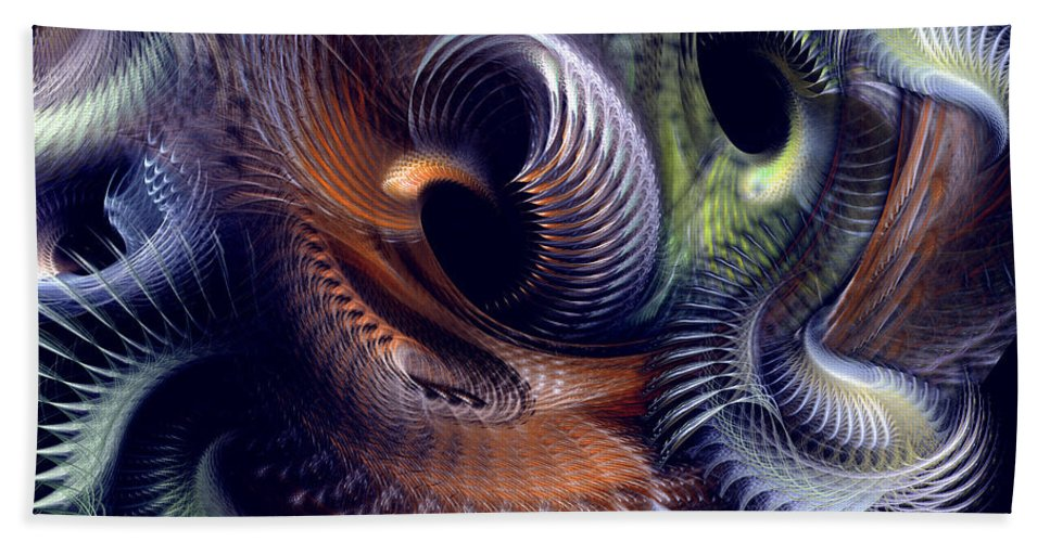Abstract Bath Towel featuring the digital art Fantastique by Casey Kotas