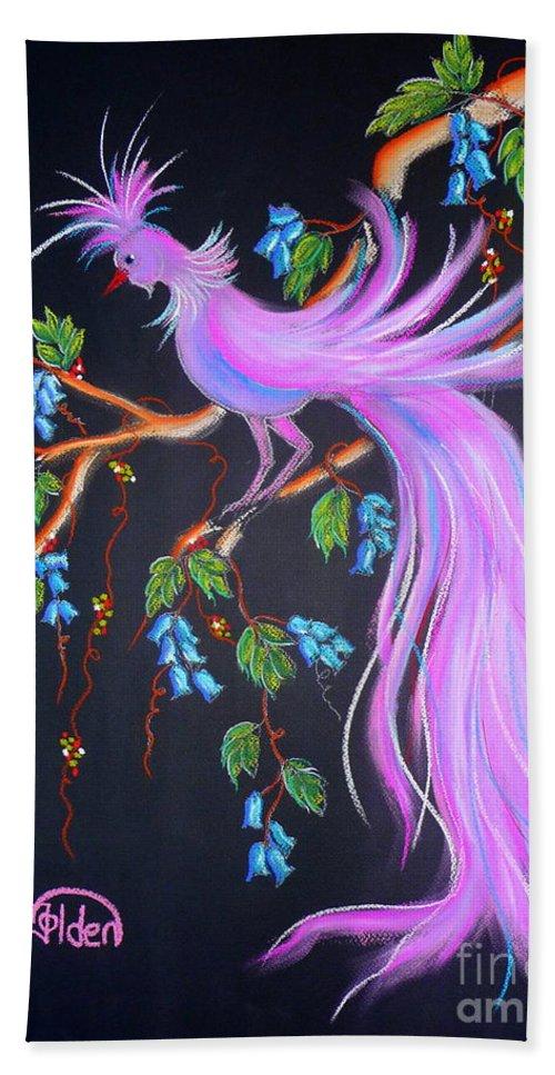 Bird Hand Towel featuring the pastel Fantasy Feather Bird by Jo Hoden