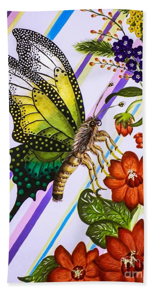 Flowers. Butterfly. Stripes. Nature. Wildlife. Floral Spray. Design. Fine Art. Leaves. Bath Sheet featuring the painting Fantasy Flight Pt.1 by Dawn Siegler