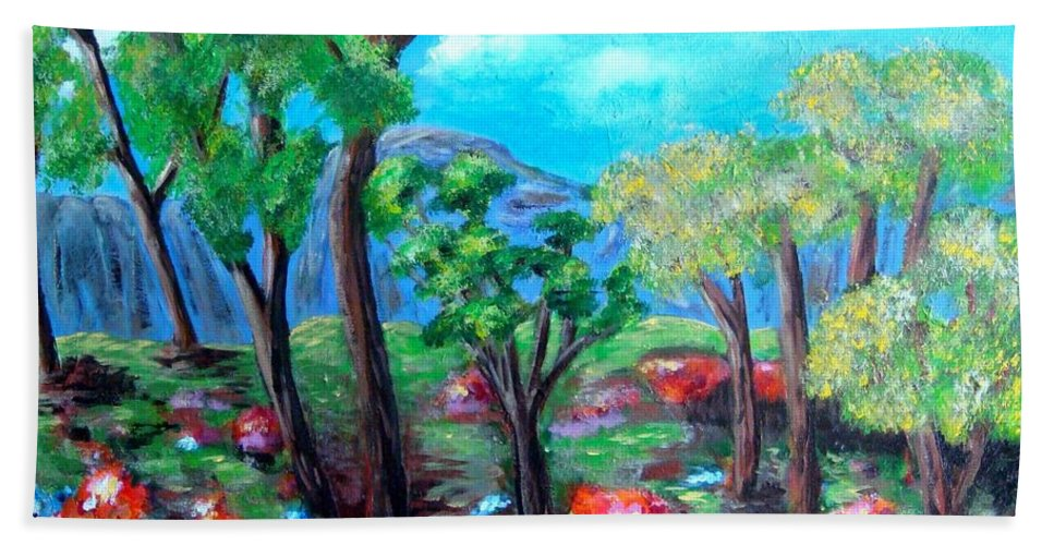 Fantasy Hand Towel featuring the painting Fantasy Forest by Laurie Morgan