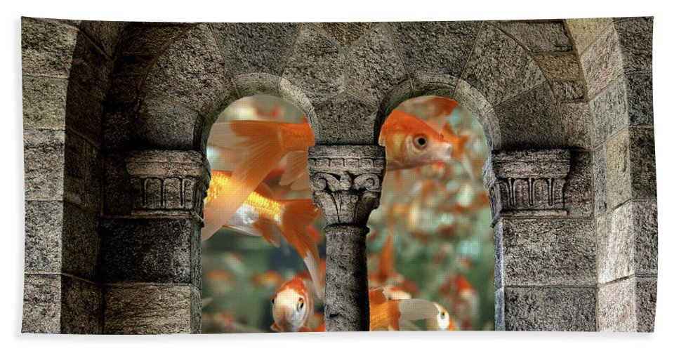 Goldfish Bath Sheet featuring the photograph Fantasy Goldfish Aquarium by James DeFazio