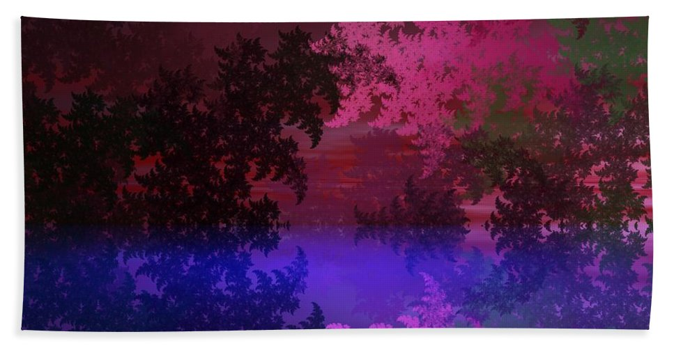 Abstract Digital Painting Bath Sheet featuring the digital art Fantasy Landscape by David Lane