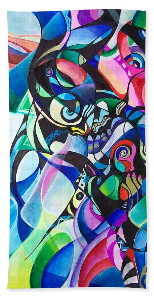 Ab Stract Acrylic Painting Pen Gel Ink Color Paper Bath Sheet featuring the painting Fantasy by Wolfgang Schweizer