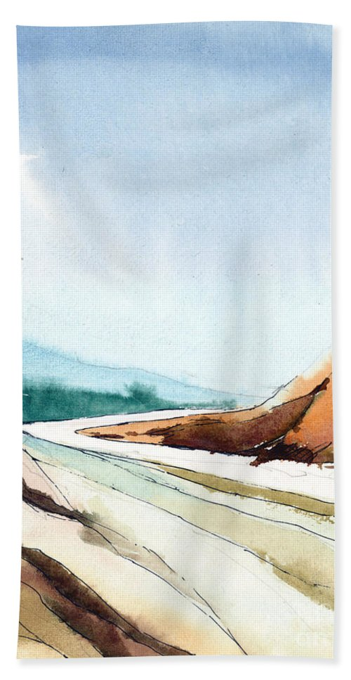 Landscape Bath Towel featuring the painting Far Away by Anil Nene