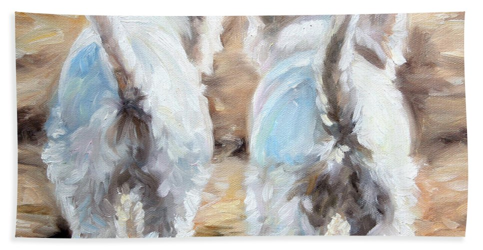Westie Hand Towel featuring the painting Farewell by Mary Sparrow