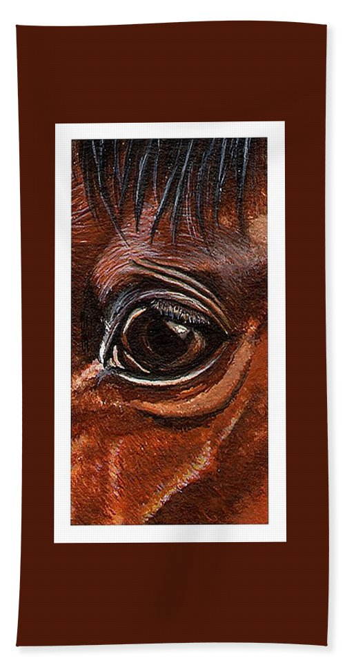 Horse Hand Towel featuring the painting Farley Detail by Kristen Wesch