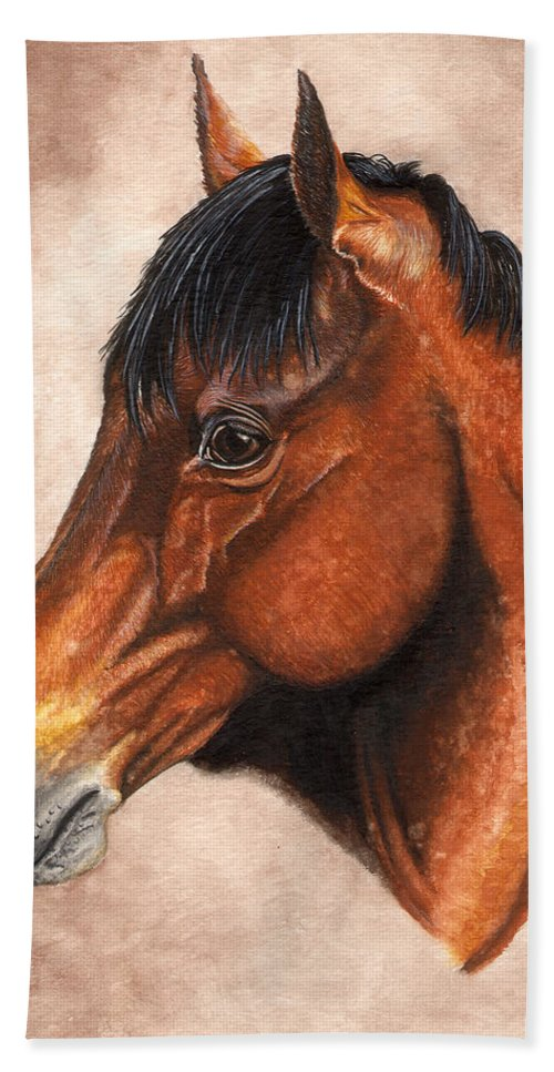 Horse Hand Towel featuring the painting Farley by Kristen Wesch