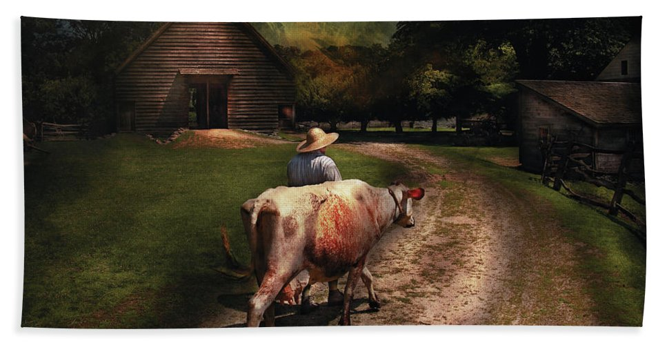 Savad Bath Sheet featuring the photograph Farm - Cow - Going To Milk Mabel by Mike Savad