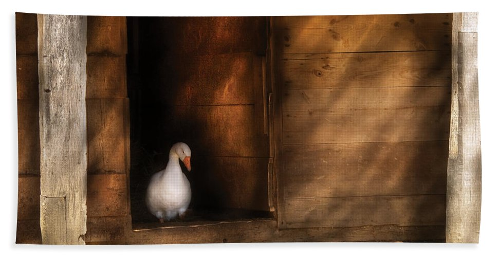 Savad Bath Sheet featuring the photograph Farm - Duck - Welcome To My Home by Mike Savad