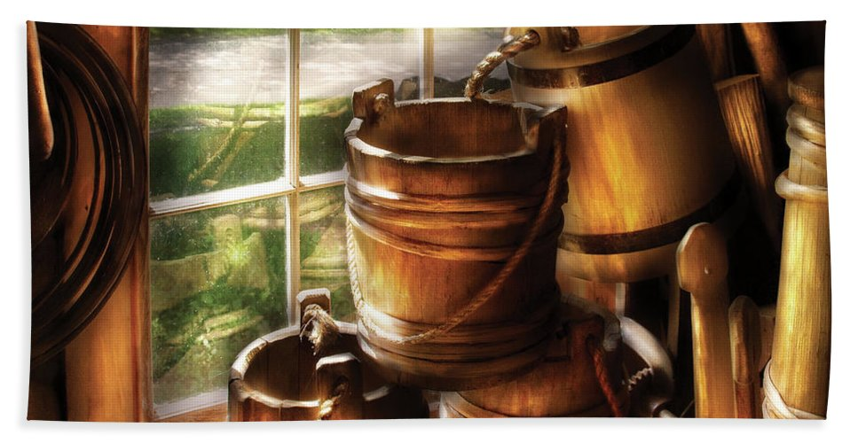 Savad Bath Sheet featuring the photograph Farm - Pail - A Pile Of Pails by Mike Savad