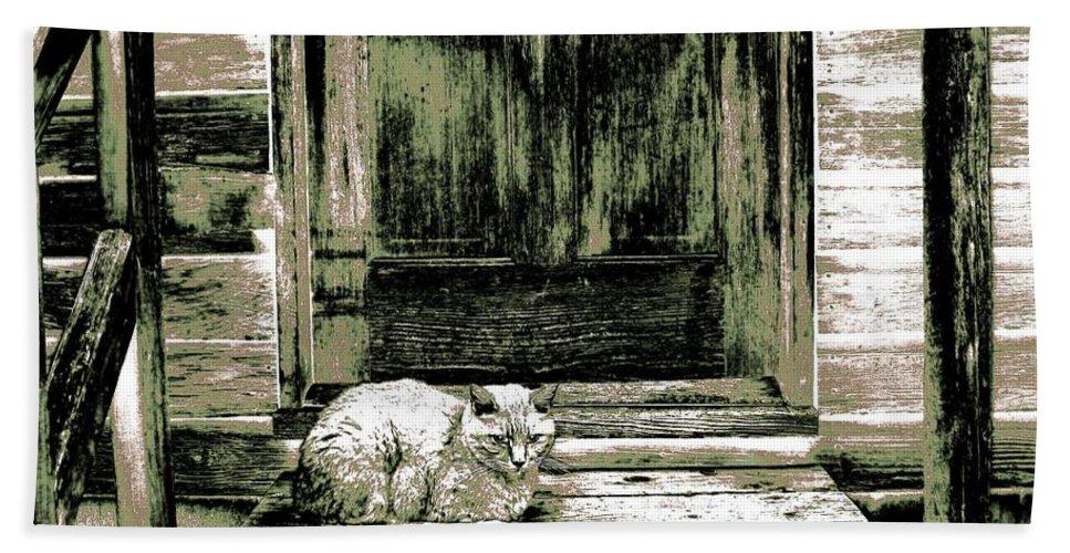 Farm Cat Bath Sheet featuring the digital art Farm Cat by Will Borden