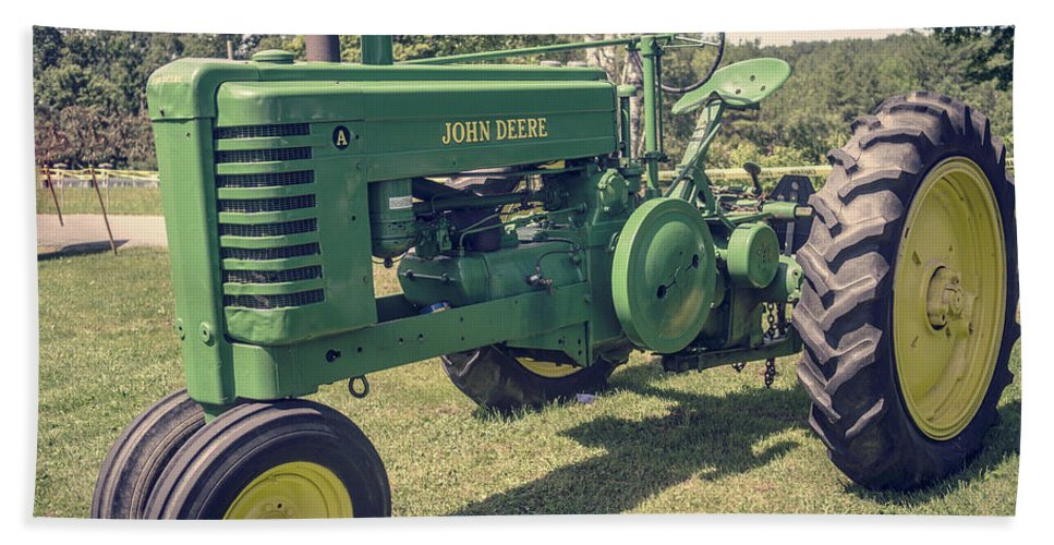 Tractor Hand Towel featuring the photograph Farm Green Tractor Vintage Style by Edward Fielding