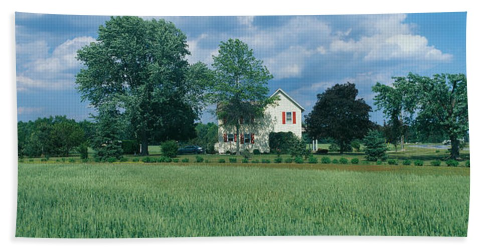 Photography Bath Sheet featuring the photograph Farm House And Spring Field, Maryland by Panoramic Images