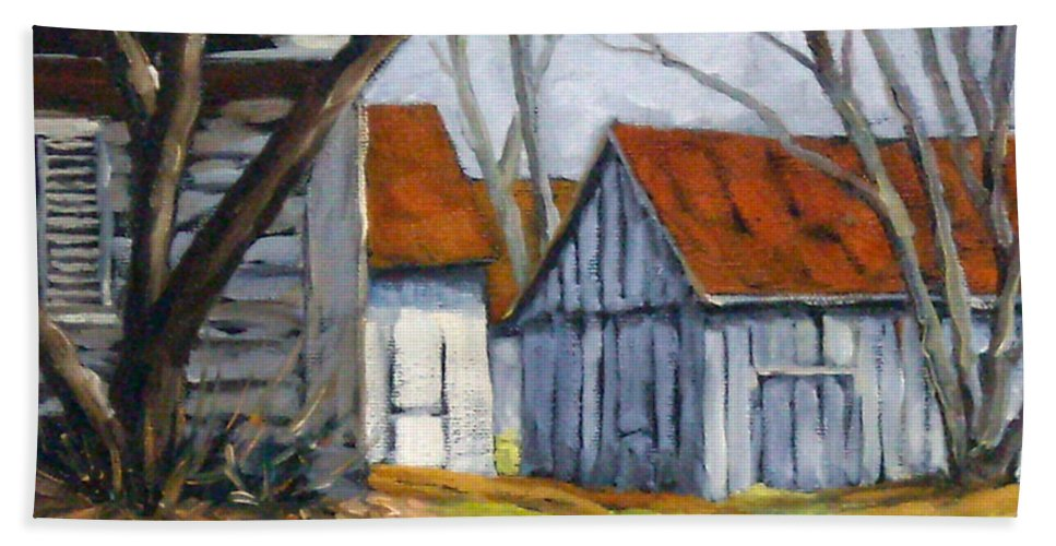 Farm Bath Towel featuring the painting Farm In Berthierville by Richard T Pranke