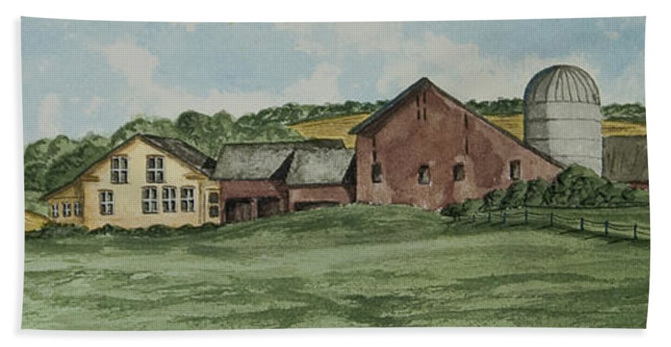 Barn Painting Hand Towel featuring the painting Farm In Summer by Charlotte Blanchard