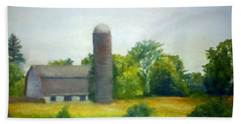 Farm Bath Sheet featuring the painting Farm In The Pine Barrens by Sheila Mashaw