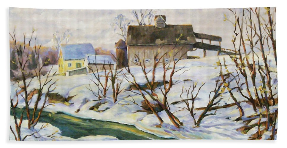 Farm Hand Towel featuring the painting Farm In Winter by Richard T Pranke