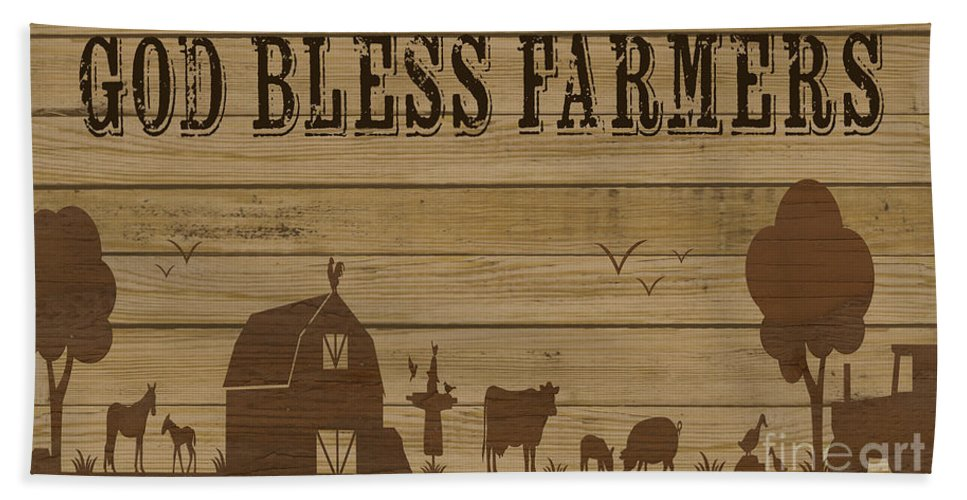 Digital Hand Towel featuring the painting Farm Life-jp3219 by Jean Plout