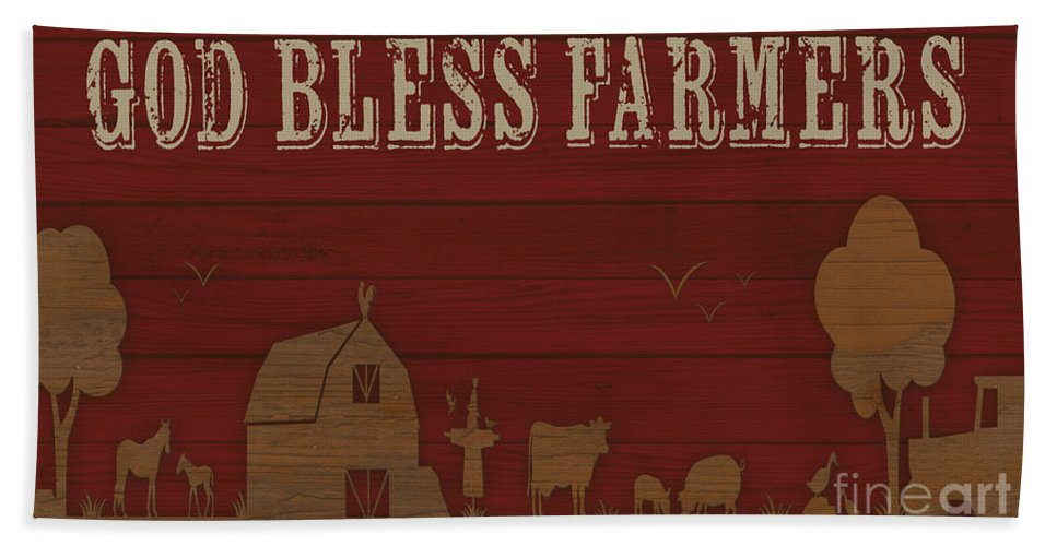 Digital Hand Towel featuring the painting Farm Life-jp3220 by Jean Plout