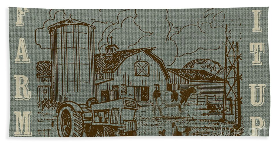 Digital Hand Towel featuring the painting Farm Life-jp3236 by Jean Plout