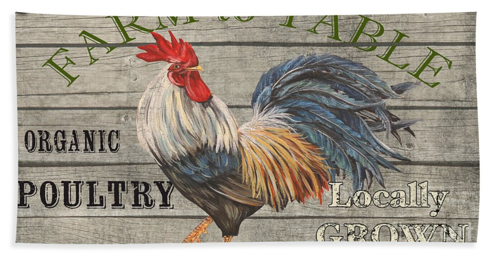 Plank Hand Towel featuring the painting Farm Life-jp3239 by Jean Plout