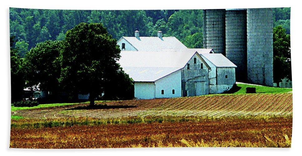 Rural Hand Towel featuring the photograph Farm With White Silos by Susan Savad