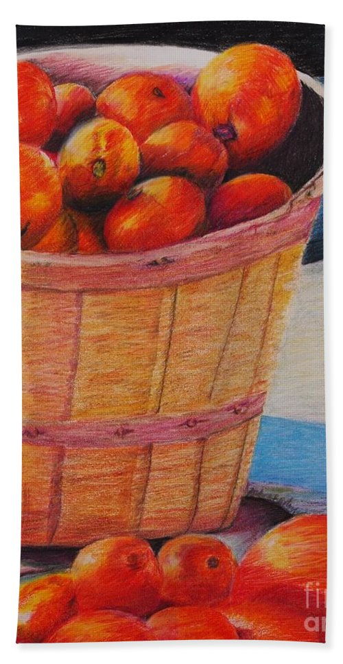 Produce In A Basket Bath Sheet featuring the drawing Farmers Market Produce by Nadine Rippelmeyer