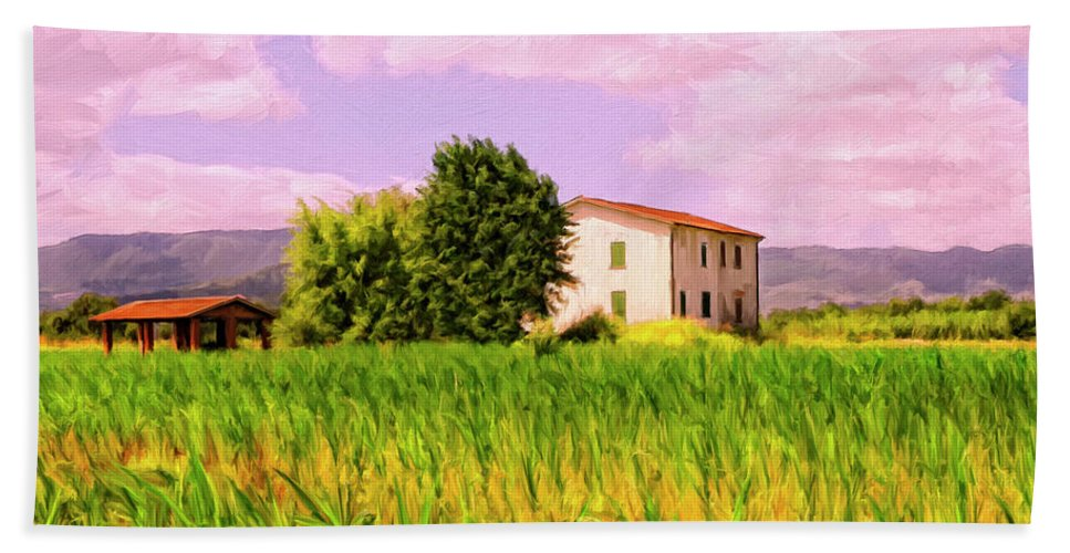 Farm Hand Towel featuring the painting Farmhouse In Tuscany by Dominic Piperata