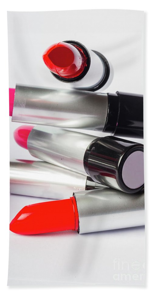 Make-up Hand Towel featuring the photograph Fashion Model Lipstick by Jorgo Photography - Wall Art Gallery