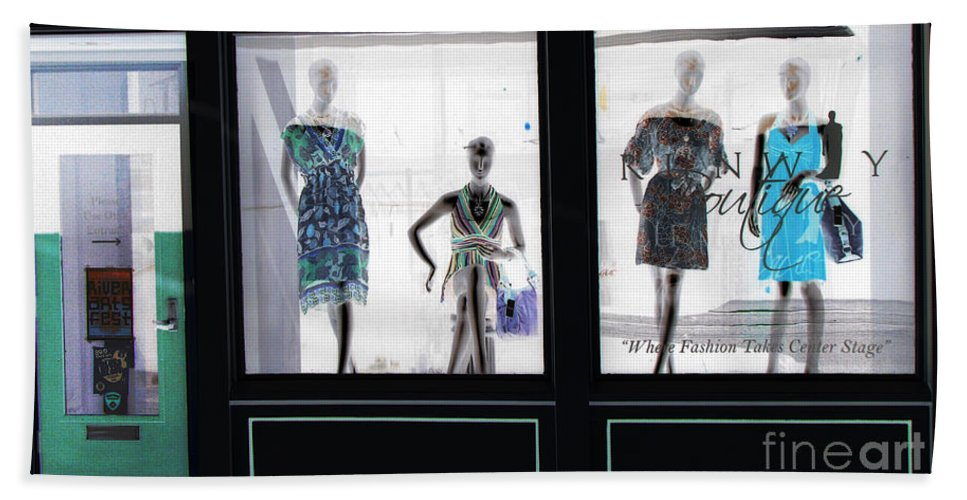 Store Front Hand Towel featuring the photograph Fashionistas by Amanda Barcon