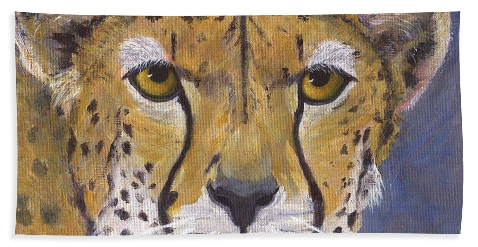 Cheetah Bath Sheet featuring the painting Fast Cat by Jamie Frier