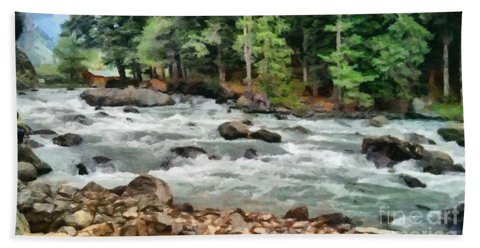 Abstract Bath Sheet featuring the photograph Fast Flowing Lidder by Ashish Agarwal
