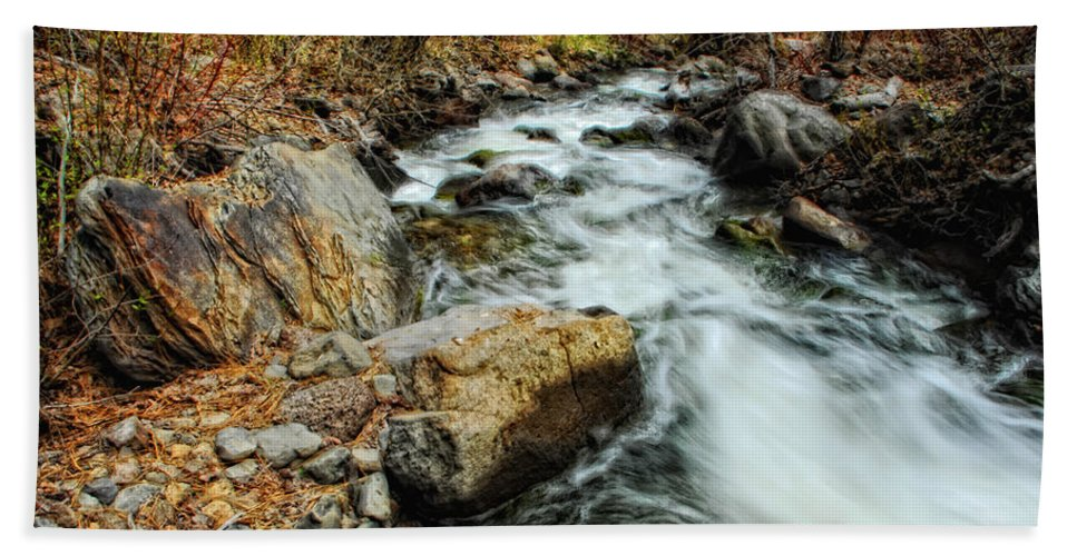 Creek Hand Towel featuring the photograph Fast Forward by Donna Blackhall