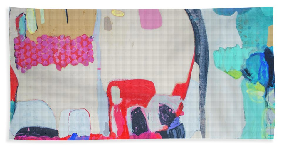 Abstract Bath Towel featuring the painting Fast Friends by Claire Desjardins