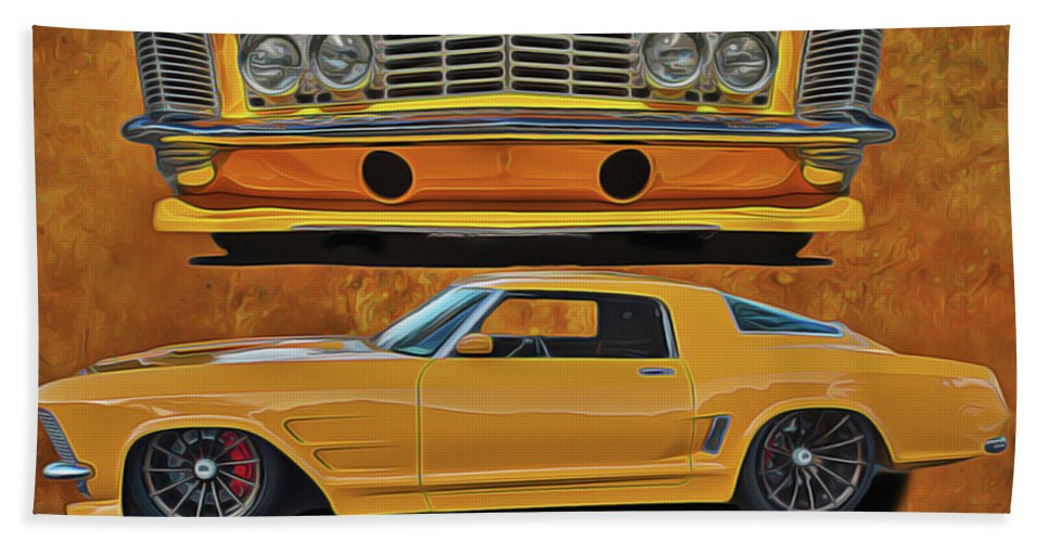 Performance Car Bath Towel featuring the painting Fast Yellow by Harry Warrick