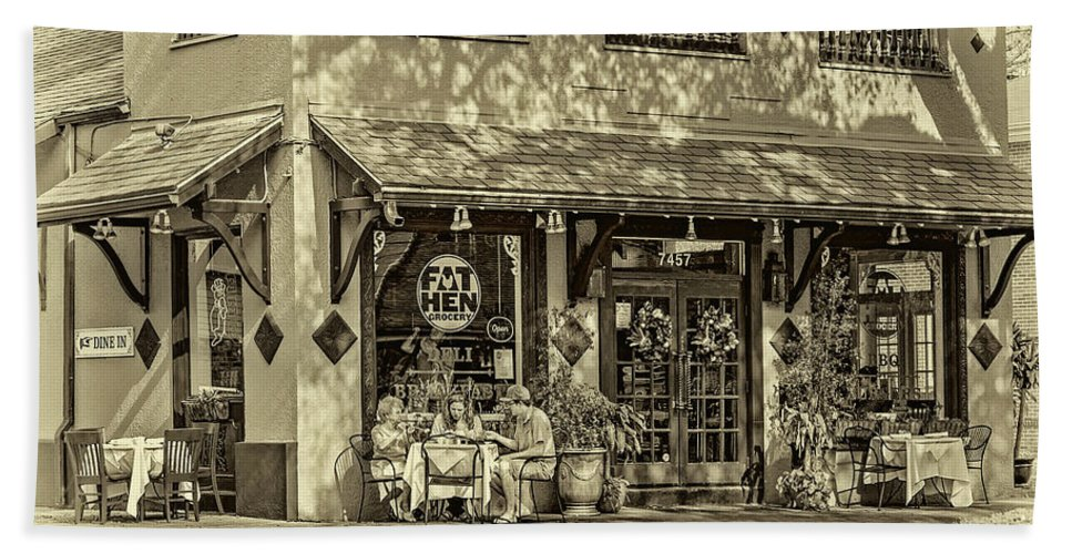 New Orleans Bath Sheet featuring the photograph Fat Hen Grocery Sepia by Steve Harrington