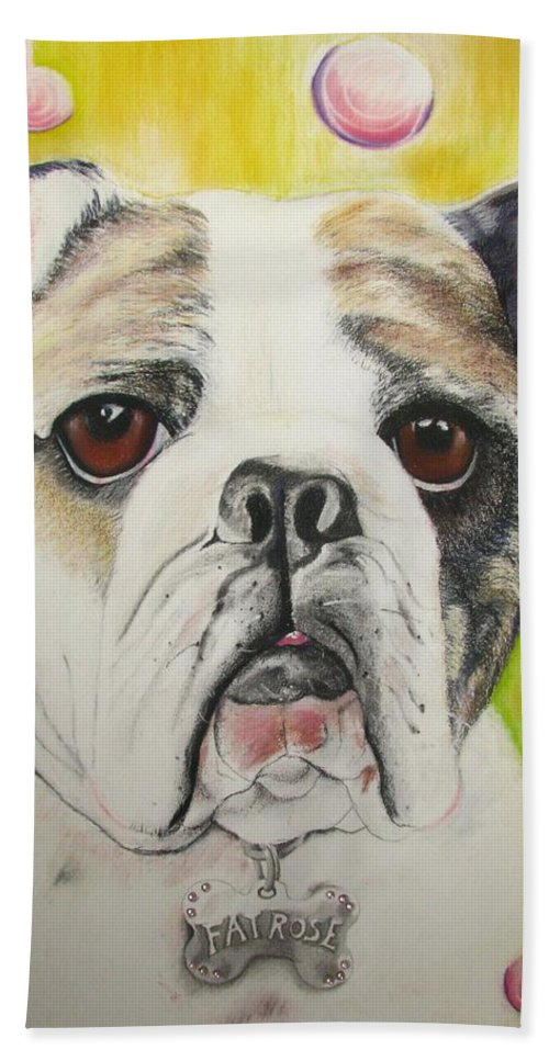 Dog Painting Bath Towel featuring the pastel Fat Rose by Michelle Hayden-Marsan