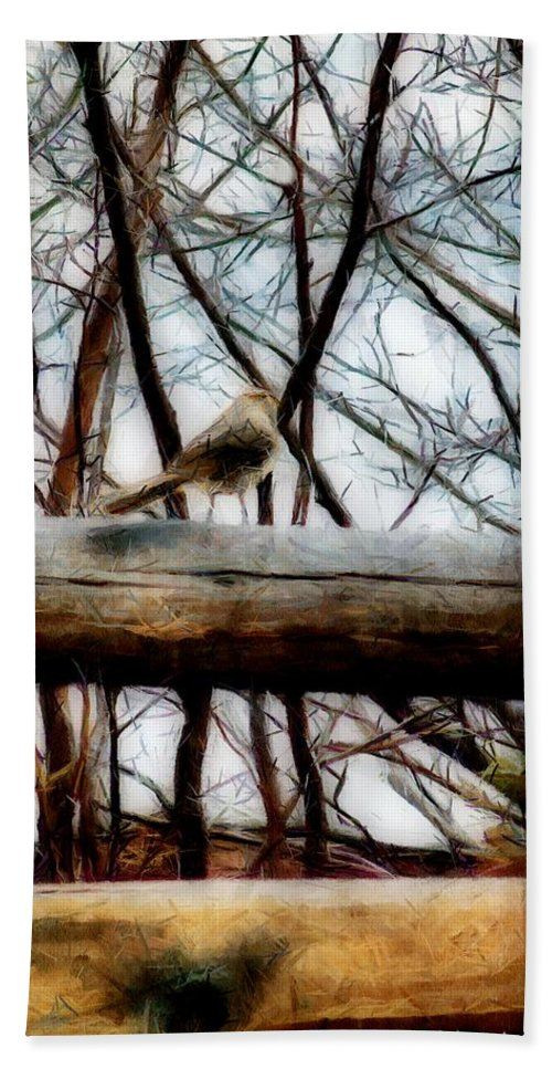 Sparrow Bath Sheet featuring the painting Fat Sparrow Fat Fence by RC DeWinter