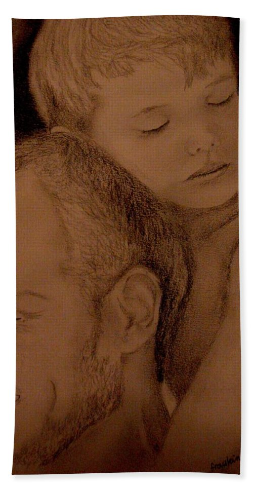 Portrait Bath Sheet featuring the painting Father And Son by Glory Fraulein Wolfe