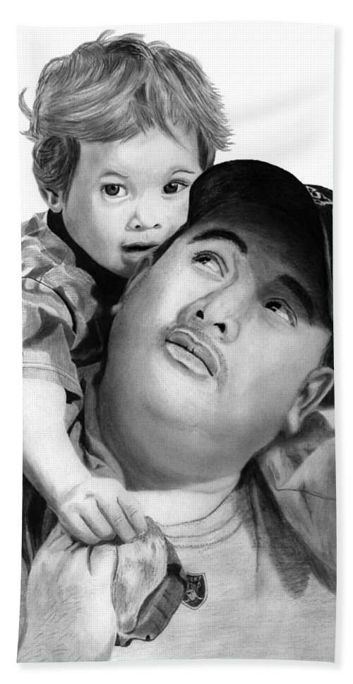 Father And Son Bath Towel featuring the drawing Father And Son by Peter Piatt