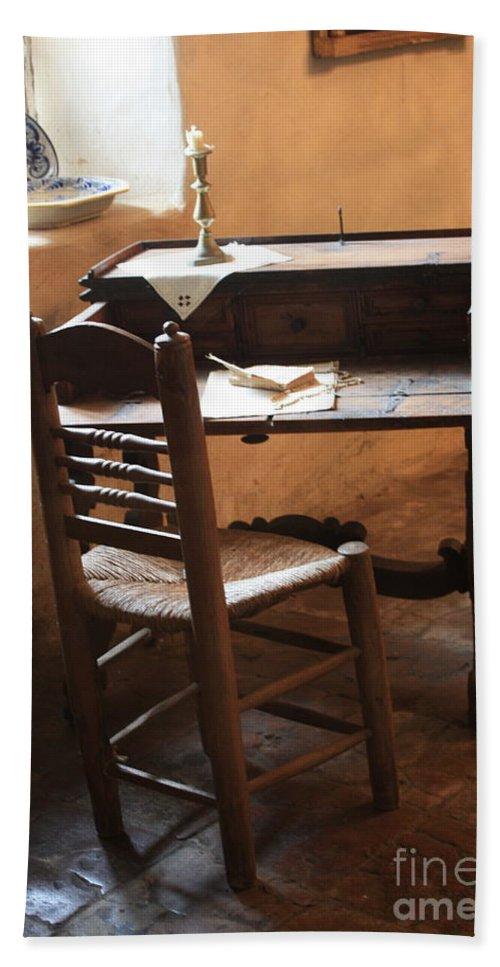 Carmel Mission Bath Sheet featuring the photograph Father Serra's Desk by Carol Groenen