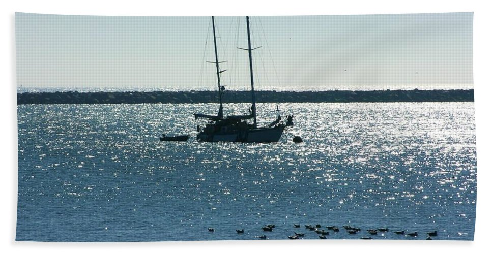 Peaceful Blue Bay Hand Towel featuring the photograph Father's Day Card - Peaceful Bay by Carol Groenen