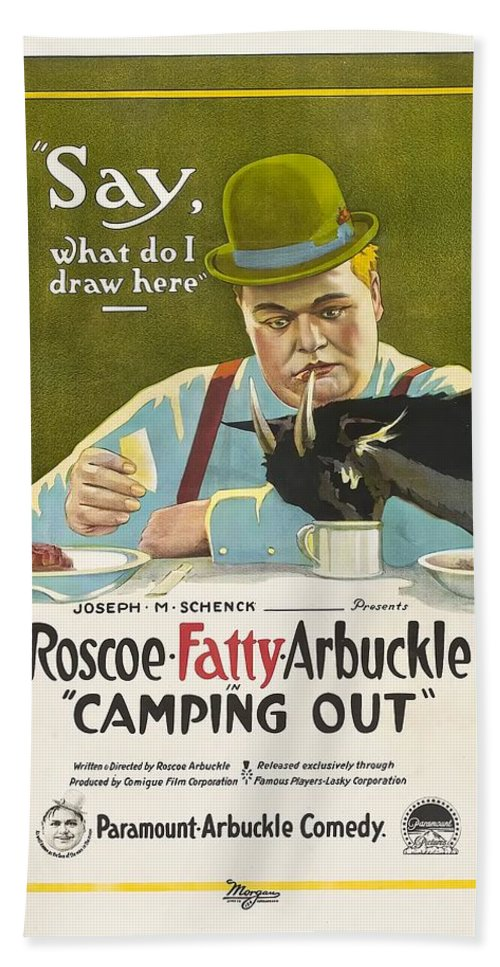 Movie Bath Sheet featuring the drawing Fatty Arbuckle In Camping Out 1919 by Mountain Dreams