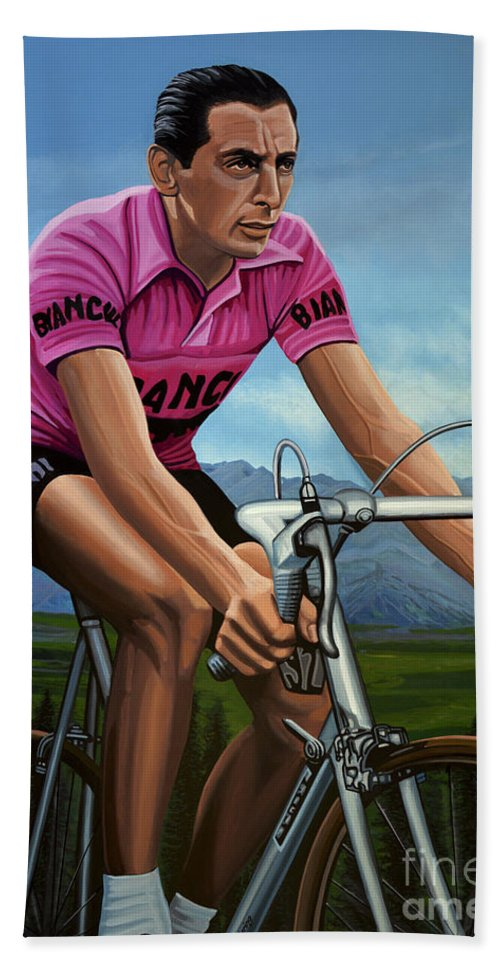 Fausto Coppi Bath Towel featuring the painting Fausto Coppi Painting by Paul Meijering