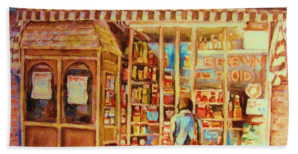 Markets Hand Towel featuring the painting Favorite Viande Market by Carole Spandau