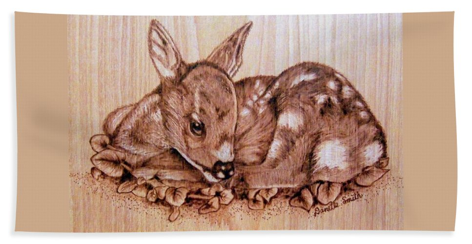 Pyrography Hand Towel featuring the pyrography Fawn by Danette Smith