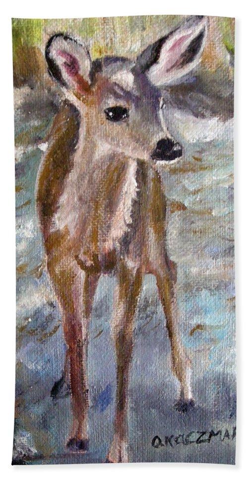 Fawn Bath Towel featuring the painting Fawn by Olga Kaczmar